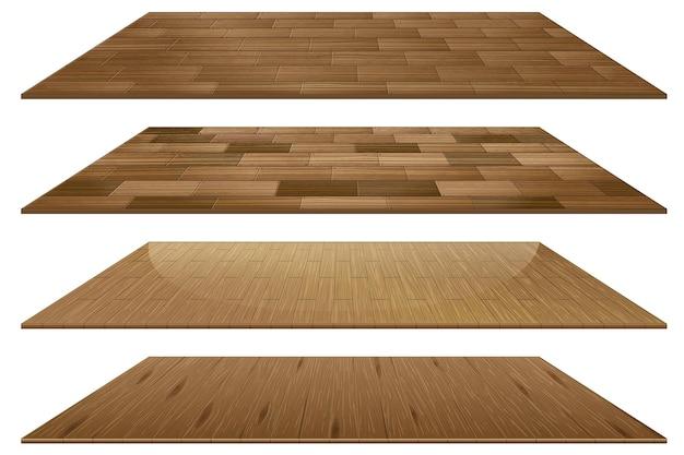 Conjunto de diferentes baldosas de madera marrón aislado sobre fondo blanco.
