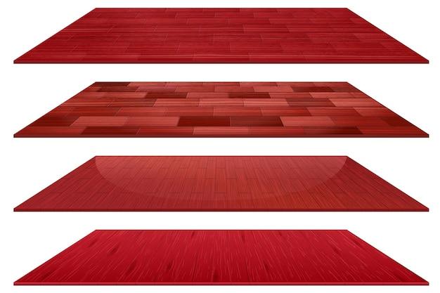Conjunto de diferentes baldosas de madera roja aislado sobre fondo blanco.