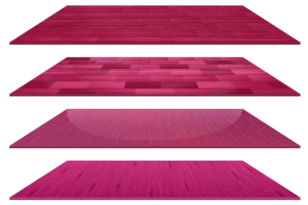 Conjunto de diferentes baldosas de madera rosa aislado sobre fondo blanco.
