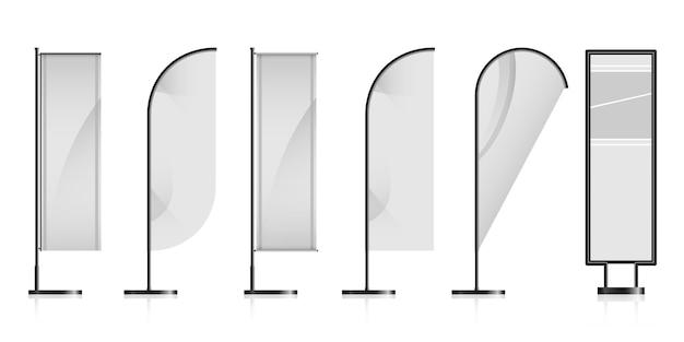 Conjunto de diferentes banderas publicitarias en blanco blanco