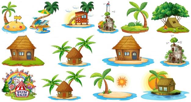 Conjunto de diferentes bangalows y el parque temático y de atracciones de beach island aislado sobre fondo blanco.