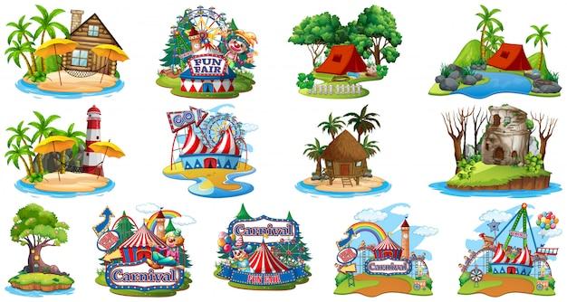 Conjunto de diferentes bangalows y el parque temático y de atracciones de beach island sobre fondo blanco