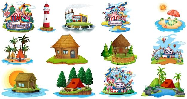 Conjunto de diferentes bangalows y tema de playa de la isla y parque de atracciones aislado en blanco