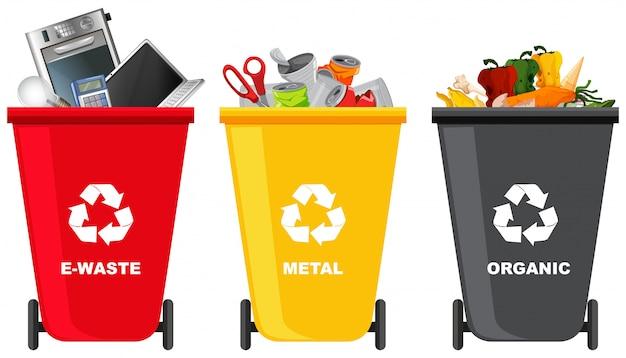 Conjunto de diferentes basureros.