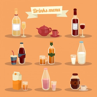 Conjunto de diferentes bebidas en ware