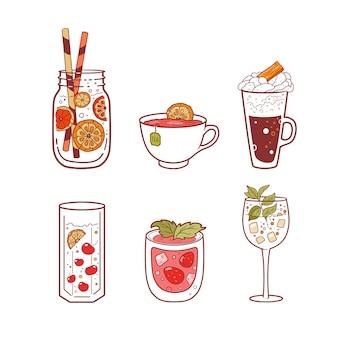 Conjunto de diferentes bebidas.