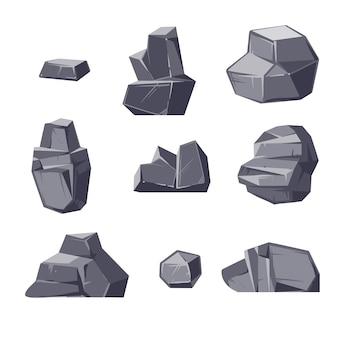 Conjunto de diferentes bloques de estilo de dibujos animados aislados sobre fondo blanco