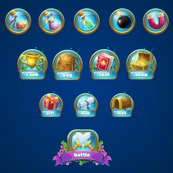 Conjunto de diferentes botones, impulsores para el juego. Vector Premium