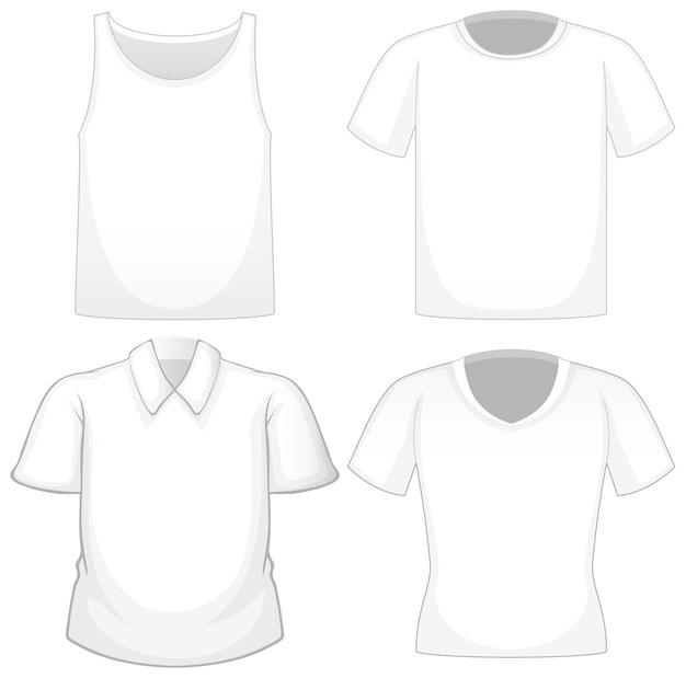 Conjunto de diferentes camisas blancas aislado sobre fondo blanco.