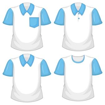 Conjunto de diferentes camisas blancas con mangas cortas azul aislado sobre fondo blanco.