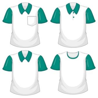 Conjunto de diferentes camisas blancas con mangas cortas verdes aisladas sobre fondo blanco.