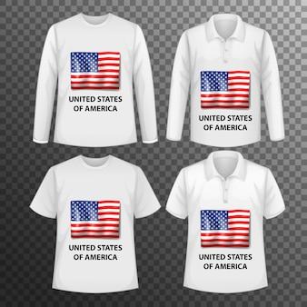 Conjunto de diferentes camisas masculinas con pantalla de bandera de estados unidos de américa en camisas aisladas
