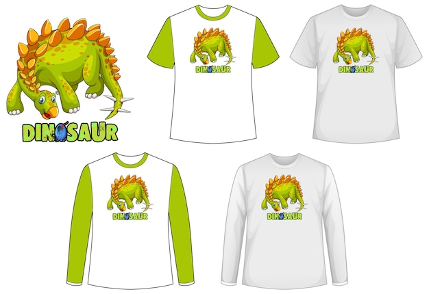 Conjunto de diferentes camisetas con dinosaurios.