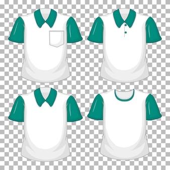 Conjunto de diferentes camisetas con mangas verdes aisladas sobre fondo transparente