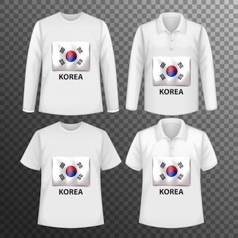 Conjunto de diferentes camisetas masculinas con pantalla de bandera de corea en camisetas aisladas
