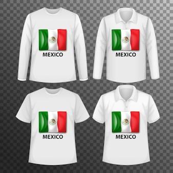 Conjunto de diferentes camisetas masculinas con pantalla de bandera de méxico en camisetas aisladas