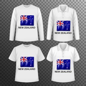 Conjunto de diferentes camisetas masculinas con pantalla de bandera de nueva zelanda en camisetas aisladas