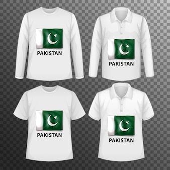Conjunto de diferentes camisetas masculinas con pantalla de bandera de pakistán en camisetas aisladas