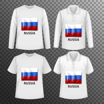 Conjunto de diferentes camisetas masculinas con pantalla de bandera de rusia en camisetas aisladas