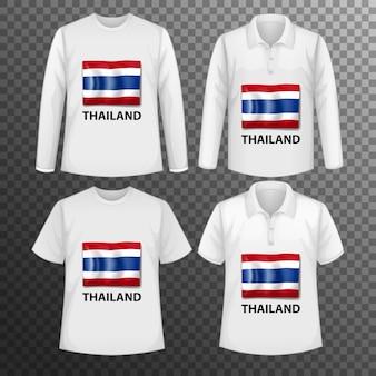 Conjunto de diferentes camisetas masculinas con pantalla de bandera de tailandia en camisetas aisladas