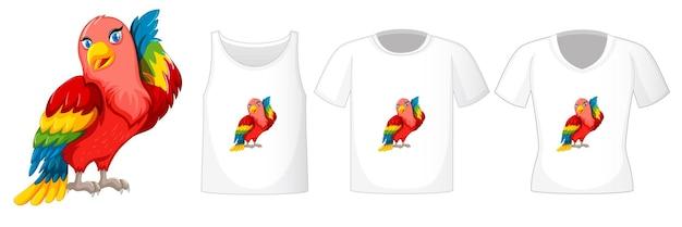 Conjunto de diferentes camisetas con personaje de dibujos animados de aves loro aislado sobre fondo blanco.
