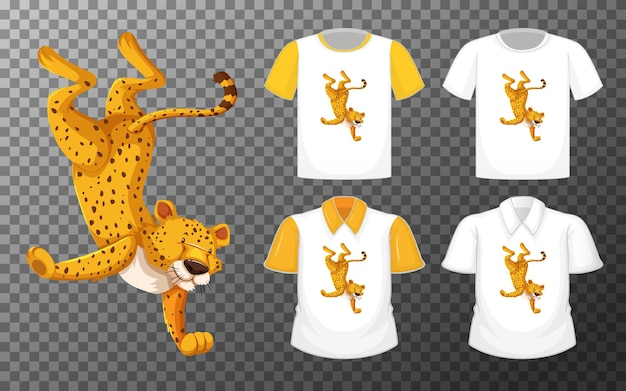 Conjunto de diferentes camisetas con personaje de dibujos animados bailando leopardo aislado sobre fondo transparente