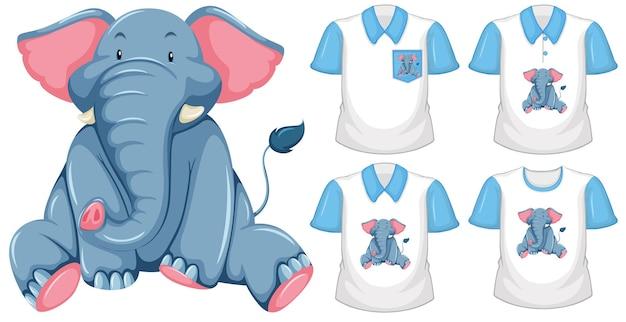 Conjunto de diferentes camisetas con personaje de dibujos animados de elefante aislado sobre fondo blanco.