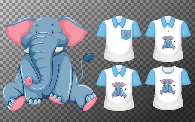 Conjunto de diferentes camisetas con personaje de dibujos animados de elefante aislado sobre fondo transparente