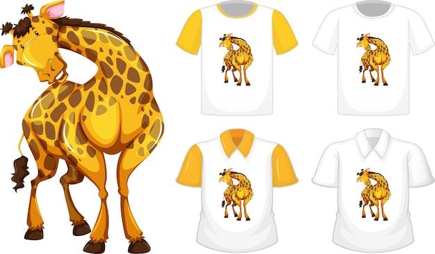 Conjunto de diferentes camisetas con personaje de dibujos animados de jirafa aislado sobre fondo blanco.