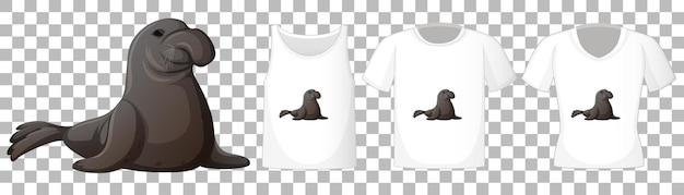 Conjunto de diferentes camisetas con personaje de dibujos animados de manatí aislado sobre fondo transparente