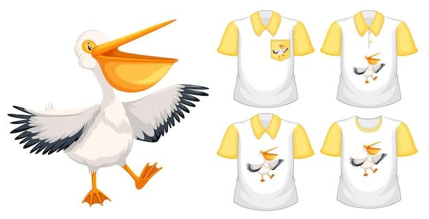 Conjunto de diferentes camisetas con personaje de dibujos animados de pelícano marrón aislado sobre fondo blanco.