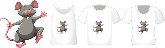 Conjunto de diferentes camisetas con personaje de dibujos animados de ratón aislado sobre fondo blanco.