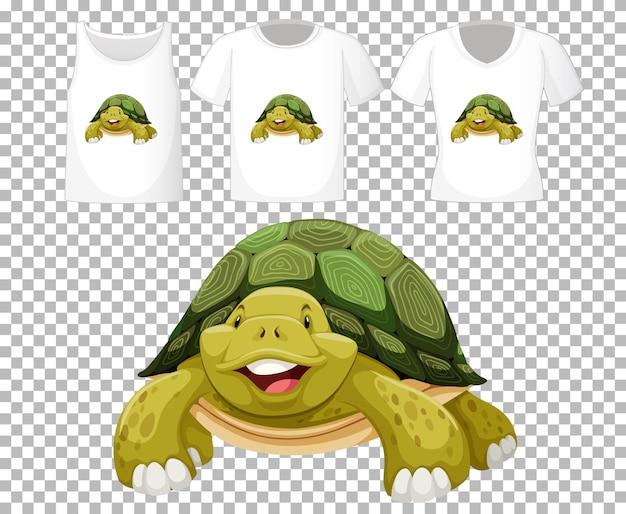 Conjunto de diferentes camisetas con personaje de dibujos animados de tortuga aislado sobre fondo transparente