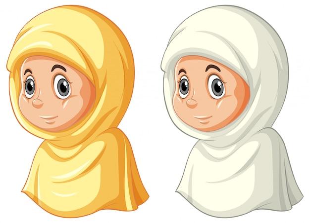 Conjunto de diferentes caras de musulmanes árabes en ropa tradicional aislado