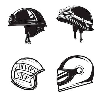 Conjunto de diferentes cascos de motorista sobre fondo blanco.