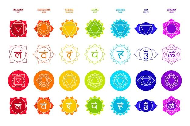 Conjunto de diferentes chakras coloridos