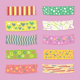 Conjunto de diferentes cintas washi dibujadas.