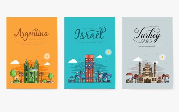 Conjunto de diferentes ciudades para destinos de viaje. plantilla de banner de hitos de flyer, revistas, carteles, portada de libro, pancartas.