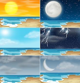 Conjunto de diferentes climas de playa.