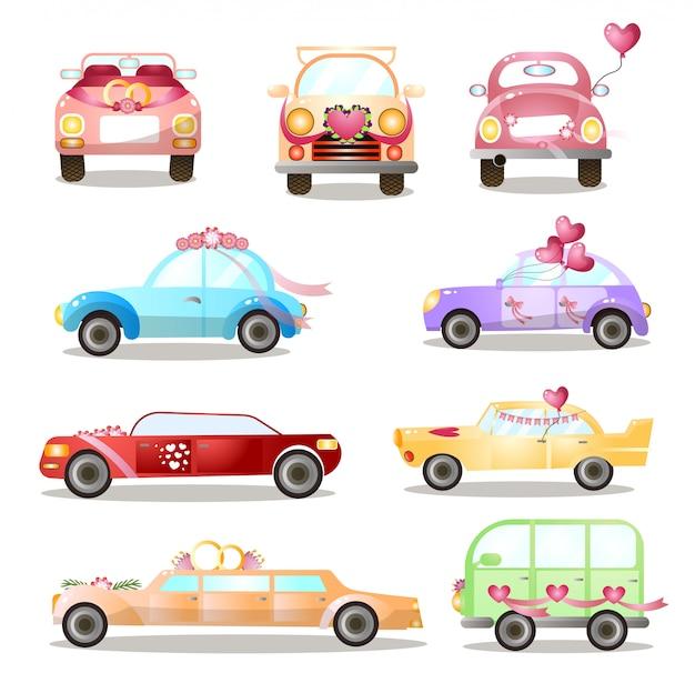 Conjunto de diferentes coches coloridos de boda o vacaciones, calles de la ciudad