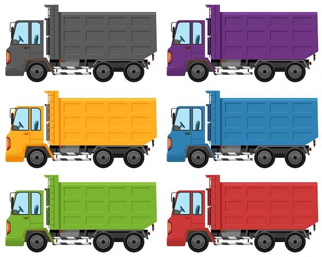 Conjunto de diferentes colores de camión.