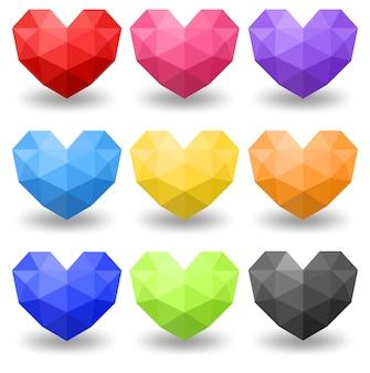 Conjunto de diferentes colores de corazón geométrico.