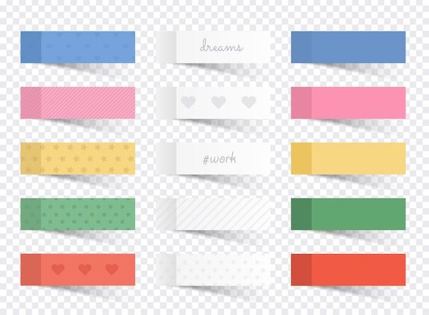 Conjunto de diferentes colores de notas adhesivas.