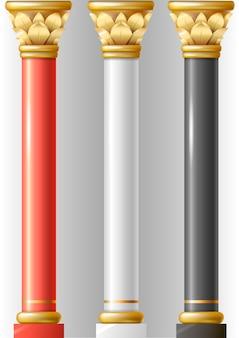 Conjunto de diferentes columnas de lujo.
