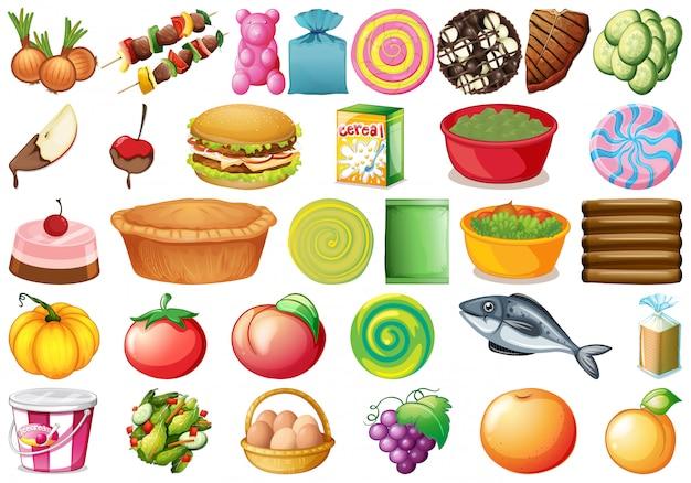 Conjunto de diferentes comidas.