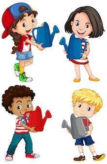 Conjunto de diferentes cuatro niños sosteniendo regadera