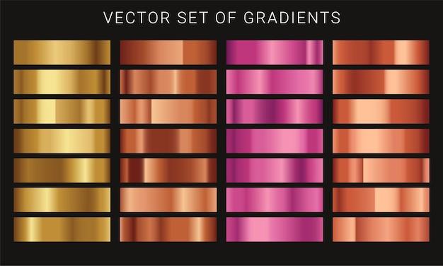 Conjunto de diferentes degradados metálicos.