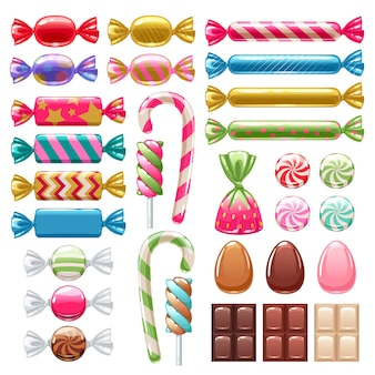 Conjunto de diferentes dulces. caramelos surtidos.