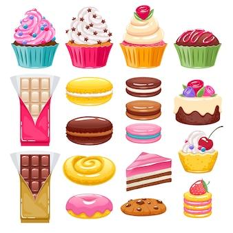Conjunto de diferentes dulces de panadería. caramelos surtidos.