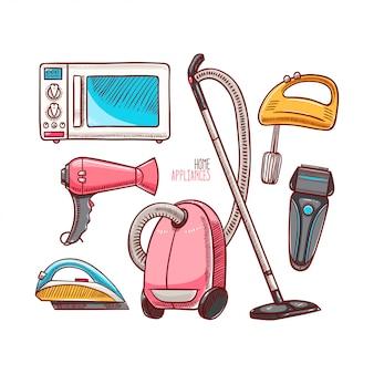 Conjunto de diferentes electrodomésticos.